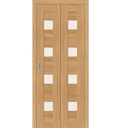 Дверь складная (книжка) межкомнатная Эко Шпон Порта-23 Anegri Veralinga стекло сатинато белое